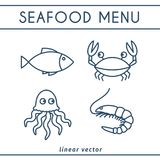 Fresh Seafood Vector Icons Set. Fresh Seafood linear icons with fish, octopus, shrimp, crab. Vector emblems set for seafood shops or restaurants Stock Photo