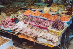 Fresh seafood on the Vietnamese market. Asian food concept Royalty Free Stock Images