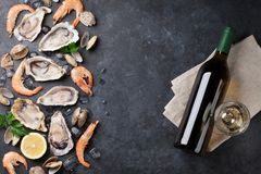 Fresh seafood and white wine on stone table. Oysters, prawns and scallops. Top view Stock Images
