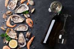 Fresh seafood and white wine. On stone table. Oysters, prawns and shells. Top view Royalty Free Stock Photography