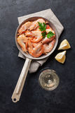 Fresh seafood and white wine Stock Images