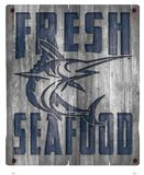 Fresh Seafood Wood Sign. Fresh Seafood Fish Market Sign Wood Rustic Vintage Distressed Old Crate Seafood Swordfish Fresh Royalty Free Stock Images