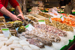 Fresh seafoods at the market La Boqueria in Barcelona Royalty Free Stock Photography