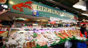 Fresh Seafoods at Pike Place Fish Market. Seattle, WA Royalty Free Stock Images