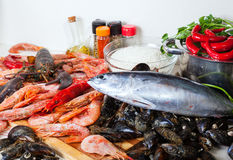 Fresh  seafoods and  seasonings at  kitchen Stock Photos