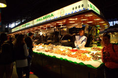 Fresh seafood stand at Barcelona market Royalty Free Stock Photo