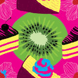 Fresh Seamless Fruit Futuristic Pattern With Cakes Royalty Free Stock Photos