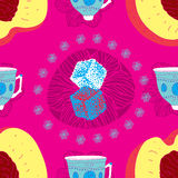 Fresh Seamless Fruit Futuristic Pattern With Coffe Royalty Free Stock Images