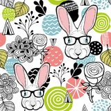 Fresh seamless pattern with cute white rabbit. Royalty Free Stock Photo