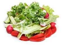 Fresh season vegetables on plate isolated Stock Photos