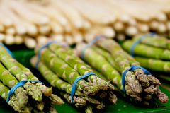 Fresh seasonal asparagus on market Royalty Free Stock Photo