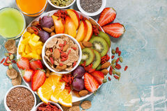 Fresh seasonal fruits, juices and superfoods Royalty Free Stock Photography