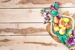 Fresh seasonal pears  on the wooden backround Stock Photo