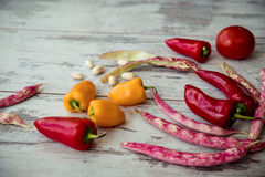 Fresh seasonal vegetables on a gray old table Royalty Free Stock Images