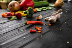 Fresh seasonal vegetables on rustic wooden background Royalty Free Stock Photography