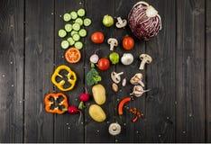 Fresh seasonal vegetables on rustic wooden background. Top view of fresh seasonal vegetables on rustic wooden background Stock Photo