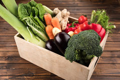 Fresh seasonal vegetables in wooden box Stock Image
