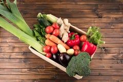 Fresh seasonal vegetables in wooden box Royalty Free Stock Image