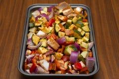 Fresh seasoned vegetables for roasting Stock Images