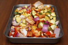 Fresh seasoned vegetables for roasting Royalty Free Stock Images