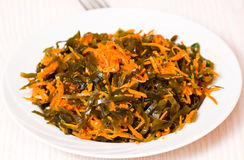 Fresh seaweed salad with carrot Royalty Free Stock Photos