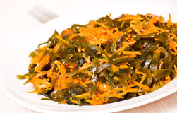 Fresh seaweed salad with carrot Royalty Free Stock Photo