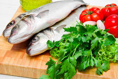 Fresh see bass with some ingredients Royalty Free Stock Photos