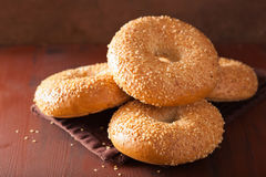 Free Fresh Sesame Bagel For Breakfast Stock Image - 67903751
