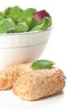 Fresh sesame roll and salad Stock Image