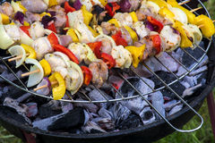 Fresh shashlik skewers with onions, peppers and meat above the c Royalty Free Stock Photos