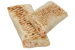 Fresh shawarma or tortilla wraps with chicken Royalty Free Stock Photos