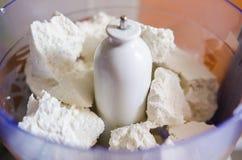 Fresh sheep romanian cheese called urda Stock Photo