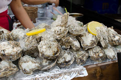 Fresh shell oysters. Traditional fish market stall full of fresh shell oysters Stock Photo
