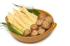 Fresh shiitake mushrooms and baby corn Stock Photography