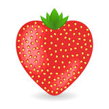 Fresh shiny strawberry in form of heart. St. Valentine's day decoration. Royalty Free Stock Image