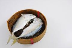 The fresh short mackerel fish (2). The fresh short mackerel fish in bamboo basket. (2 Royalty Free Stock Photo