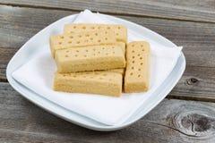 Fresh Shortbread Cookies on White Cloth Napkin Royalty Free Stock Image