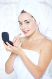 Fresh From Shower Pretty Woman Applying Lipstick Royalty Free Stock Photo