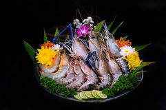 Fresh shrimp in black background Stock Photography