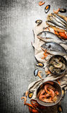 Fresh shrimp, fish and shellfish. Stock Photo