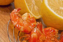 Fresh Shrimp and Lemon Stock Photos