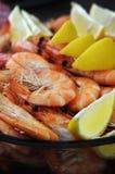 Fresh shrimp with lemon Stock Photos