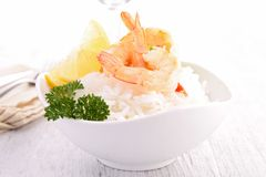 Fresh shrimp and rice Stock Photo