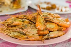 Fresh shrimp from the river Bring to grilled. Available at riverside garden restaurant Stock Photos