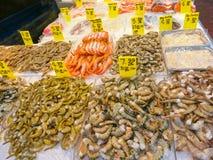 Fresh shrimp at seafood Chinese market, New York Royalty Free Stock Photography