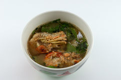 Fresh Shrimp spicy curry. Thai Spicy Mixed Vegetable Soup with Prawns Royalty Free Stock Photography