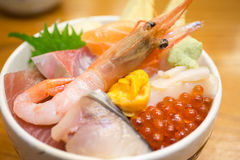Fresh shrimp and various kinds of sashimi raw fish rice bowl Stock Image
