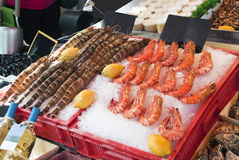 Fresh shrimps. Countertop with seafood. Big Shrimps Royalty Free Stock Image