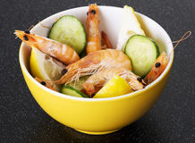 Fresh shrimps in a bowl. Stock Images