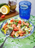 Fresh shrimps, eggs and vegetables salad Royalty Free Stock Image